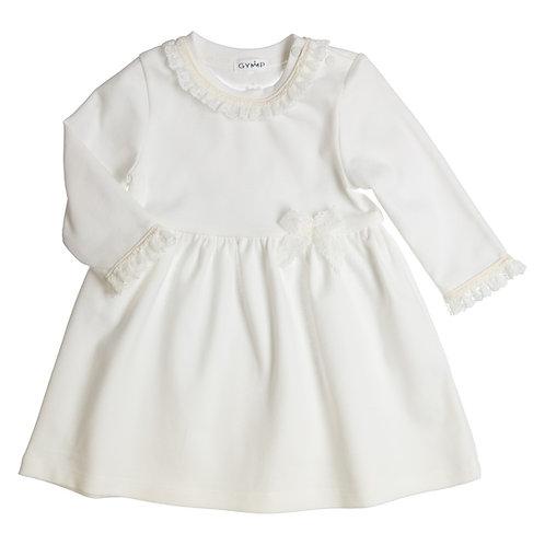 GYMP -  Off-White Lace Ribbon Dress