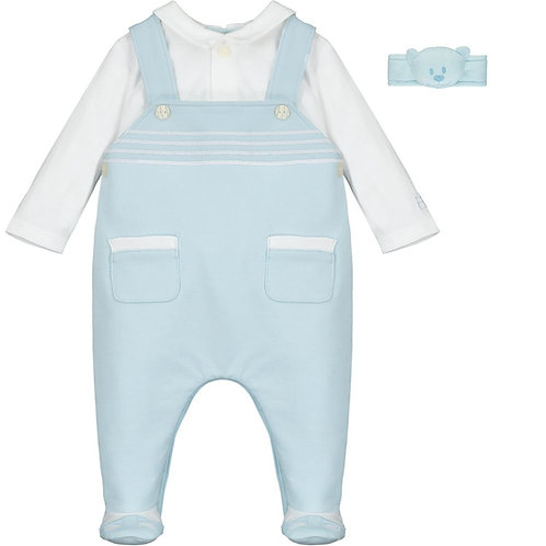 Aaron - 2in1 Dungaree with emb stripes, shoe & Wrist Rattle