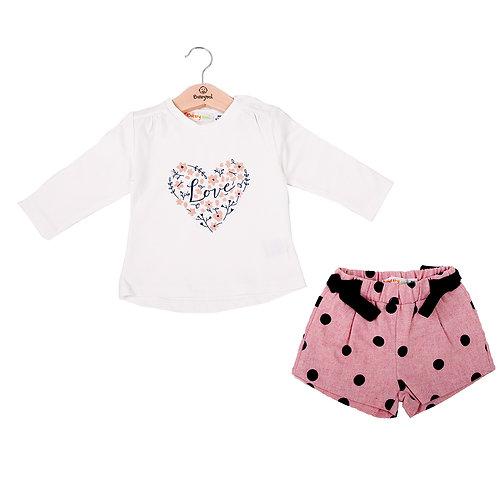 Babybol - White Long Sleeve Top & Pink Shorts