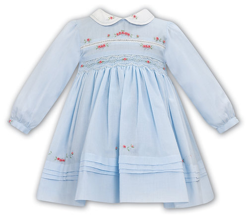 Sarah Louise - Blue Hand-Smocked Dress