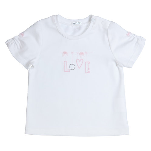 GYMP -  White & Pink T-Shirt Embroidery LOVE