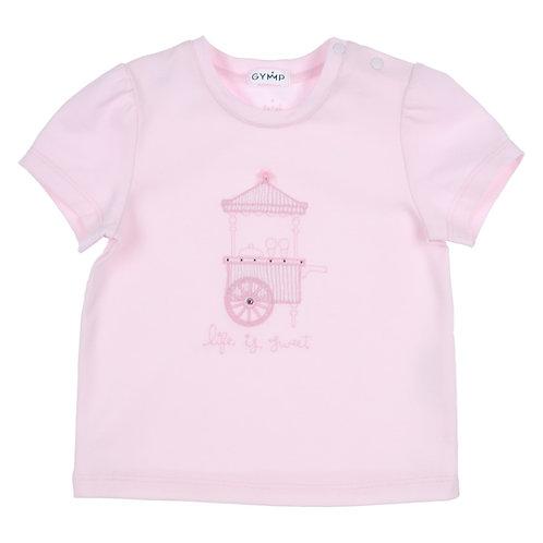 "GYMP -  Light Pink T-Shirt ""LIFE IS SWEET, ICE CREAM CART"""
