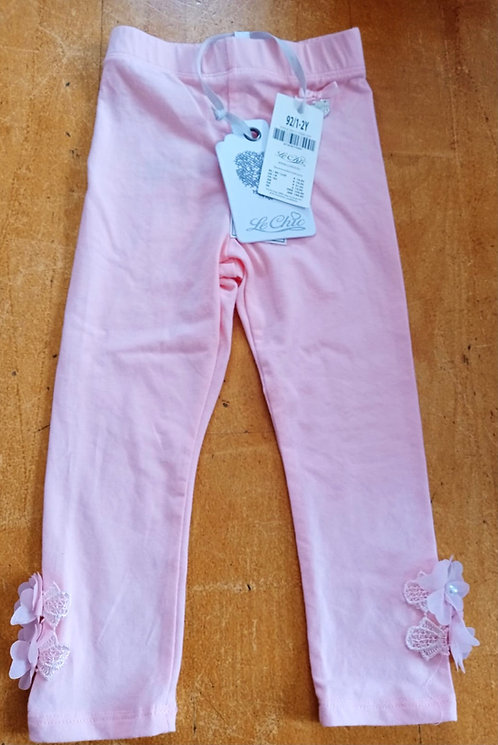 Le Chic Pink Leggings with Flower Detail