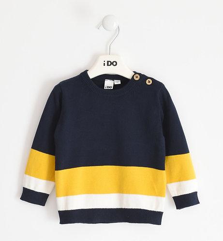 iDO -Navy Sweater with Yellow & White