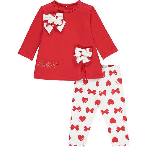 Little A - Brianna Bows & Heart Print Legging Set