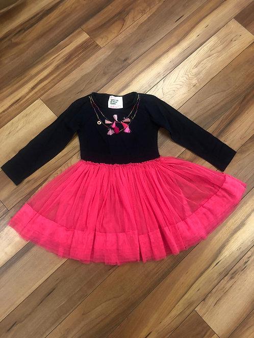 Mimpi - Black & Pink Long Sleeve Dress