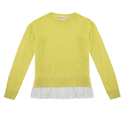 UBS2 - Lemon Sweater with white poplin frill hem.