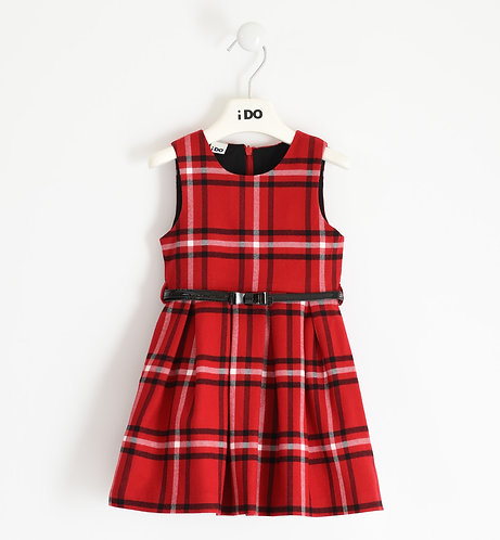 iDO - Red Pinafore dress in checked yarn-dyed twill