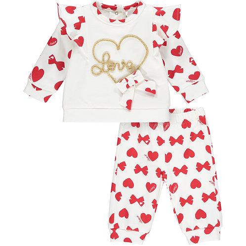 Little A -Bailey Bows & Heart Print Tracksuit