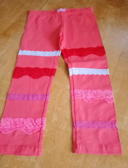 Lofff Pink Leggings with lace detail