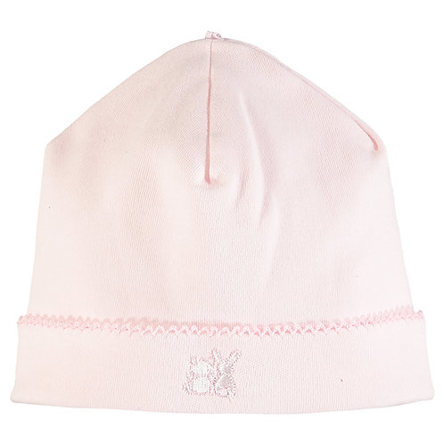 Genesis - Pink Interlock pull on Hat with picot edge