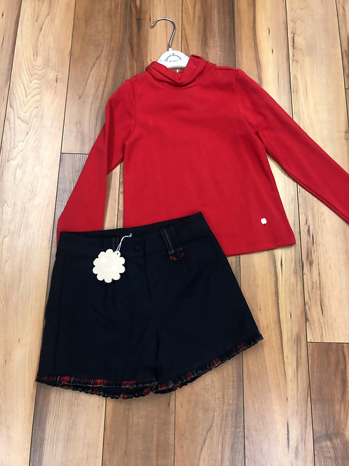 Patachou - Navy Wool Shorts & Red Polo Neck