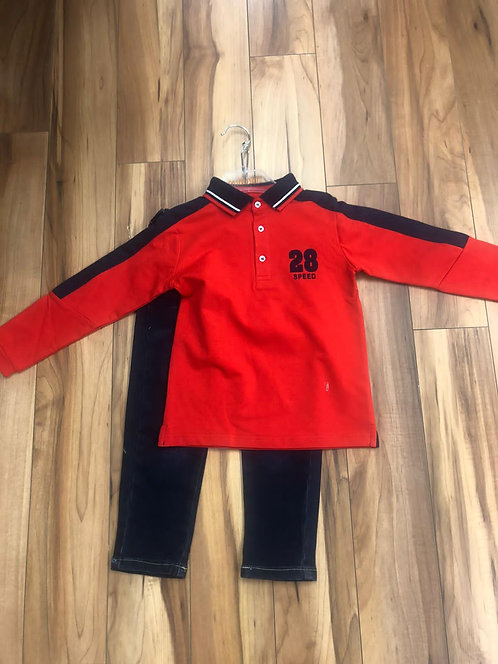 Mini Bol - Red Polo Shirt & Navy Pants