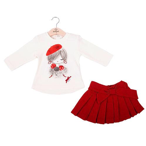 Babybol - White Girl Top & Red Skirt