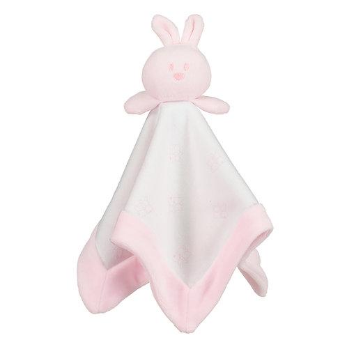 Gemini- Pink Velour bunny head comforter