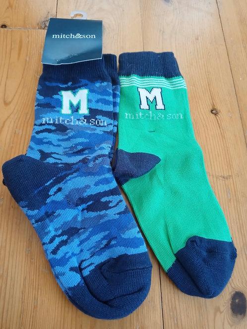 Mitch & Son - Navy & Green Socks Twin Pack