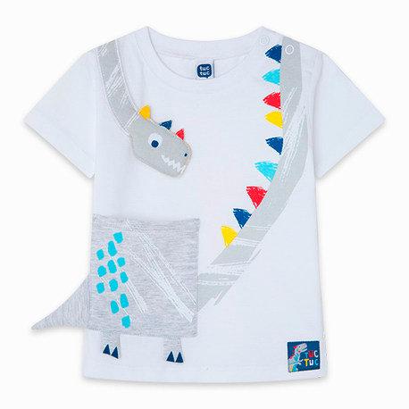Tuc Tuc -White Dinosaur T-Shirt