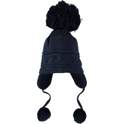 Griffin - Navy true knit cosy ear bobble Hat