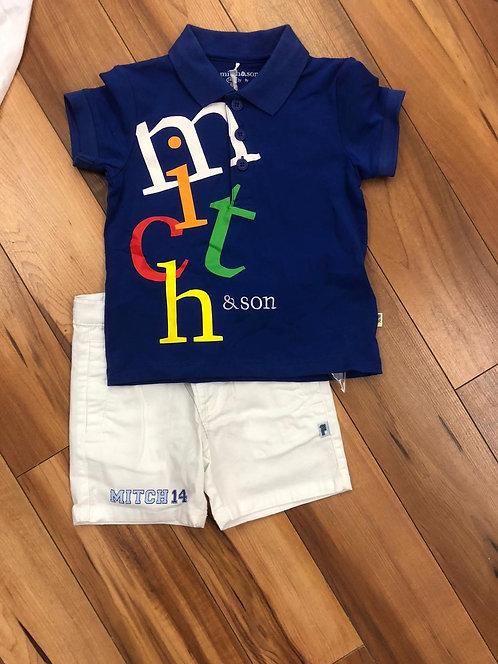 Mitch & Son - Parker Blue T-Shirt & White Shorts