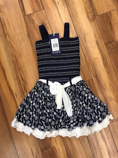Lofff - Dark Blue & White Smoked Dress
