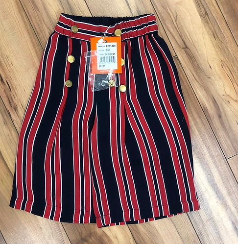UBS2 - Navy & Red Stripe Wide Leg Culottes
