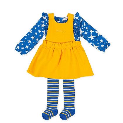 Agatha Ruiz de la Prada Estrella  - Yellow & Blue Star Dress & Tights