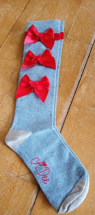 A Dee - Anna Bow Grey Socks
