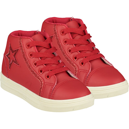 A Dee - Star Red High Top Trainer