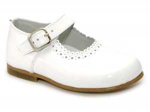 Leon Shoes -  White Patent Buckle