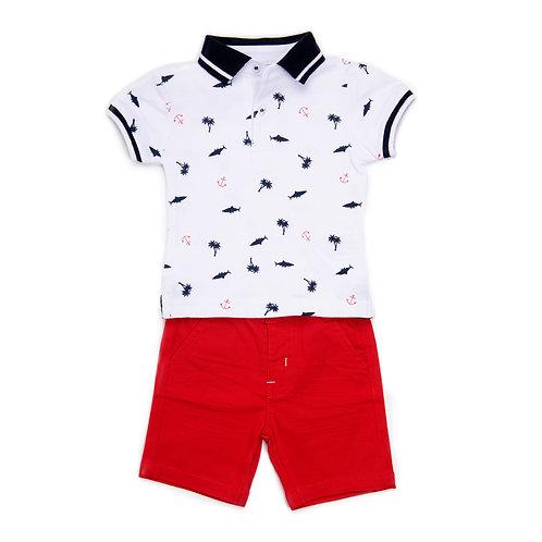 Babybol -T-Shirt & Red Shorts Set