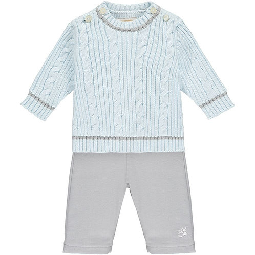 Arlo - 2pc cable knit Jumper & woven Trouser