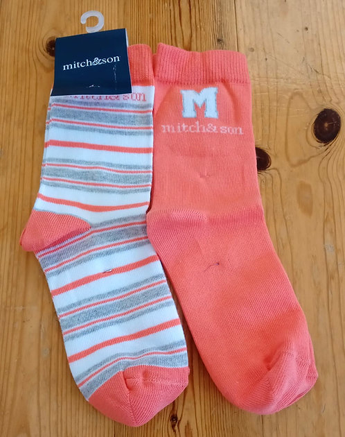 Mitch & Son - Bright Coral Socks Twin Pack