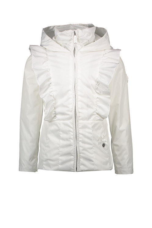 Le Chic - White Jacket with Vertical Ruffles
