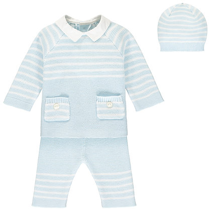 Tanner - 2pc knit stripe Top with pockets & Trouser, Hat - Pale Blue