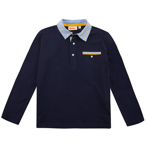 UBS2 - Boys Navy Long-Sleeve Polo Shirt