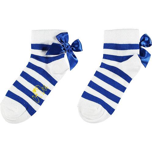 A Dee  - Libby Blue Stripe Bow Ankle Socks