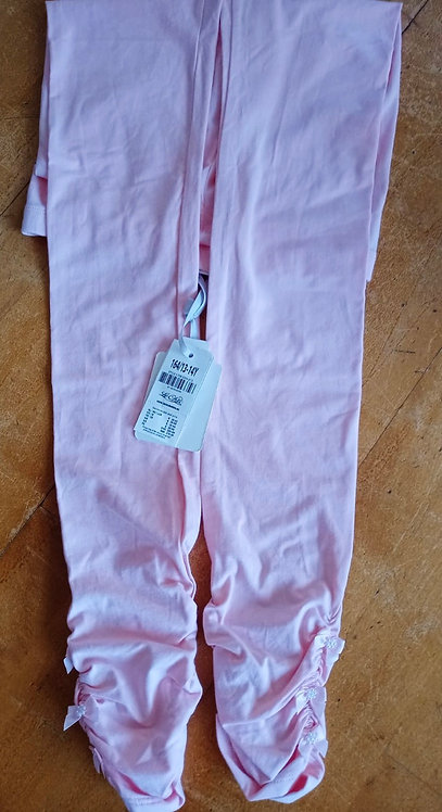 Le Chic Pink Leggings with ruffle bow ends