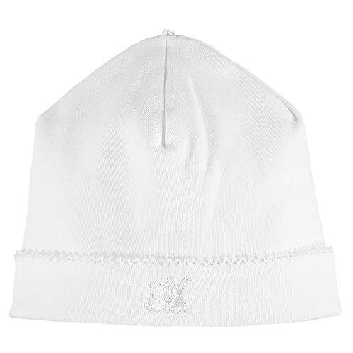 Genesis- Interlock pull on Hat with picot edge-  White