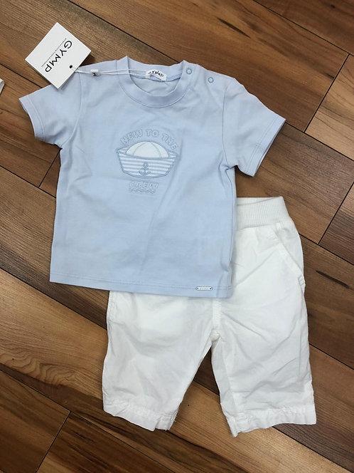 GYMP - White Pants & Blue T-Shirt