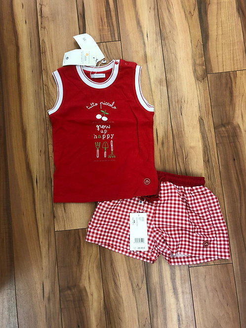 Tutto Piccolo  - Red Top and Red Check Shorts