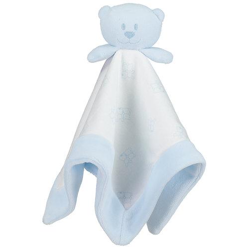 Gavin - Pale Blue Velour bear head comforter