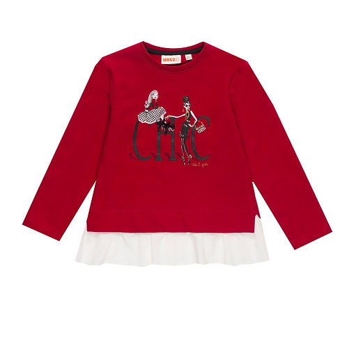 UBS2 - Girls Red Sweater with White trim