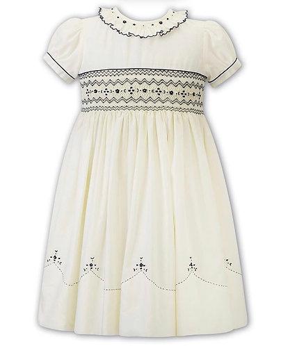 Sarah Louise  - Lemon & Navy  Hand-Smocked Dress
