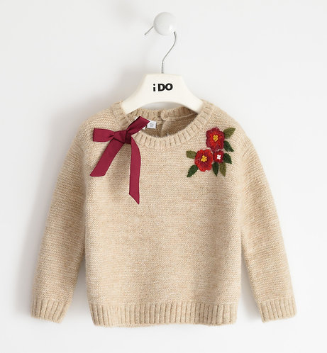 iDO - Girl Beige crew neck sweater