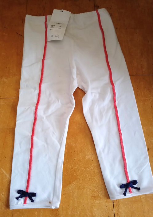 Little Darlings White Leggings with Pink Band