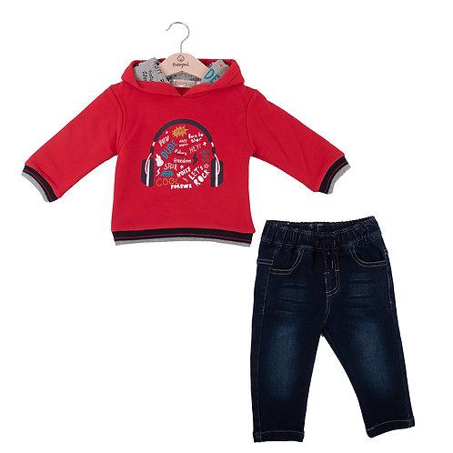 Babybol - Red Hoody & Denim Jeans