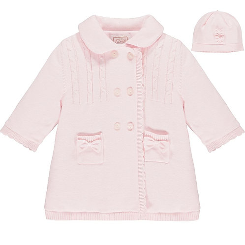 Giselle- Knit Coat with cable yoke, pockets & Hat