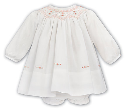 Sarah Louise - Girls Ivory with Peach Voile Dress and Bloomers
