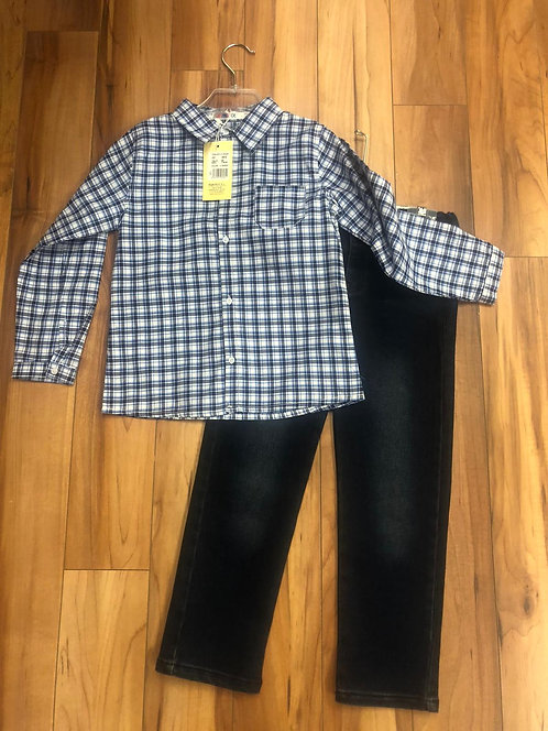 Mini Bol - Blue Check Shirt & Denim Jeans