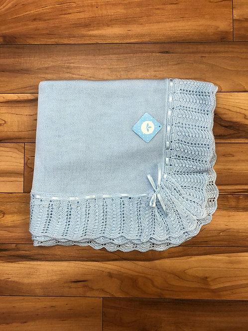 Sardon - Ivon Baby Knitted Shawl in Blue